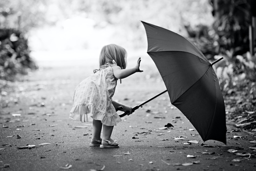 CHILDREN - Family, black and white, b&W, child, children, portrait, umbrella, photograph, outdoor, child holding umbrella,