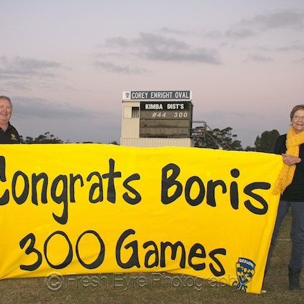 Boris 300 games - All the best to Corey Enright on his 300th game.