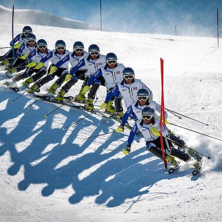 Perisher_WSC_SL_Montage - Perisher Winter Sports Club athlete during a Slalom training session. Photo Montage. Credit Jan Vokaty