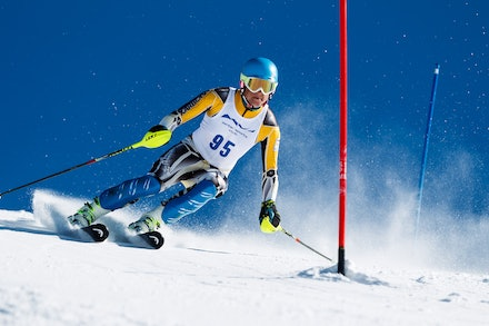 140813_FIS_SL1_3442 - Athlete competing in SSA FIS Slalom race on Hypertrail at Perisher, NSW (Australia) on August 13 2014. Jan Vokaty