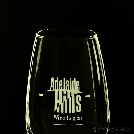 Adelaide Hills Promotion - Reflected light used to highlight the wine glass shape