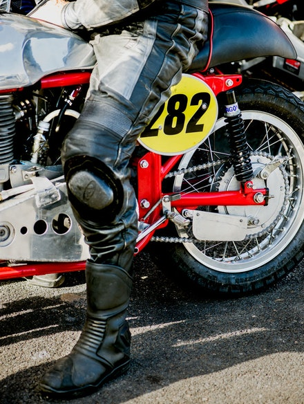 5 - Well worn leathers on a well worn bike