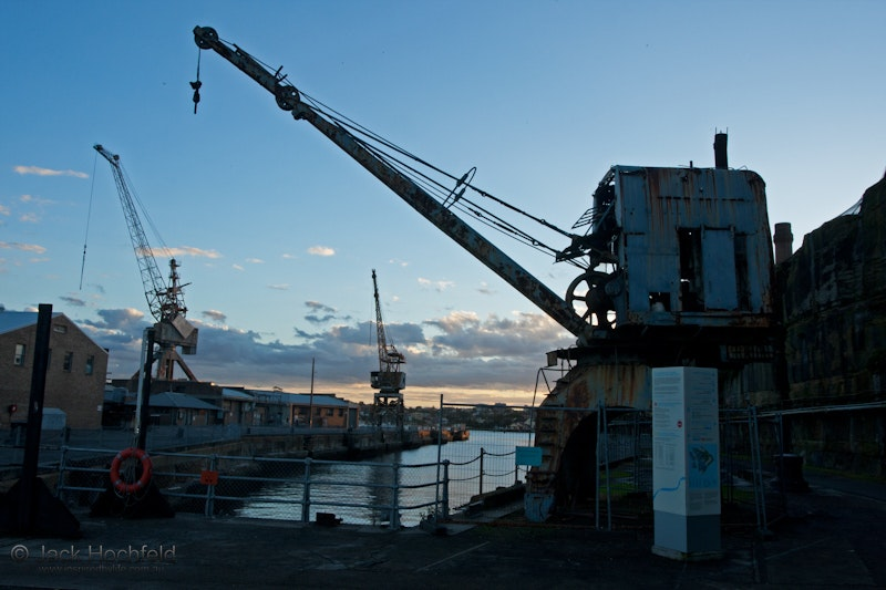 Cranes at sunset, Cockatoo Island - Cranes at sunset, Cockatoo Island