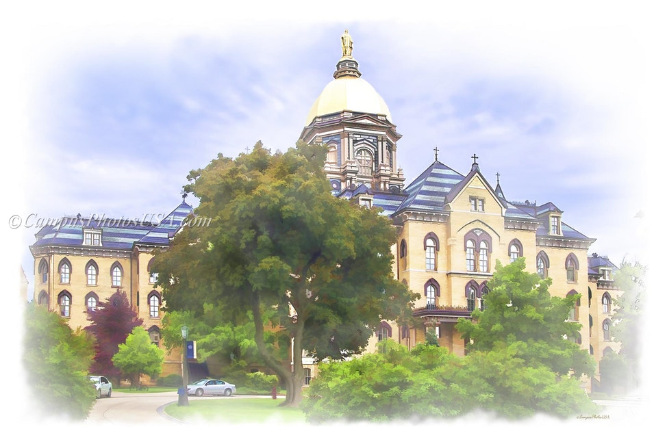The Main Building Notre Dame/Digital Watercolor_2436_1549 - Photo by Campus Photos USA. The Main Building on the campus of Notre Dame, Notre Dame, IN was...
