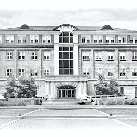 Jesse Philips Humanities Center, University of Dayton_BW_Digital.Watercolor_2436_BW_Print_3386 - Photos by Campus Photos USA. (Digital Watercolor, Black...