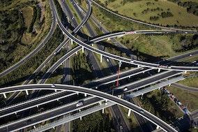 Lighthorse Interchange_44226 - Aerial view of the Lighthorse Interchange, junction of the M7 and M4 motorways, Eastern Creek, Sydney, NSW, Australia.