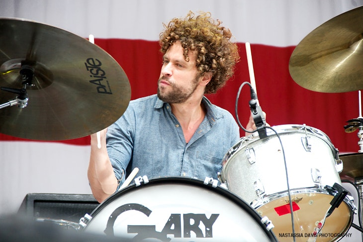 JOHNNYRADELAT - Gary Clark Jr's drummer, Johnny Radelat, plays at Made In America Festival in Philly, Sept 3, 2012.