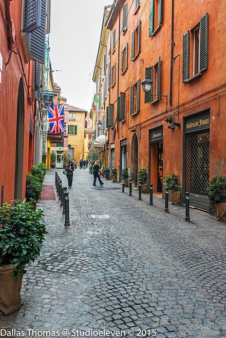 Typical Bolgona street in the old town - 2096-Edit