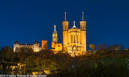 France 2013 Lyon 299-Edit-2 - La Basilique Notre Dame de Fourvière overlooks Lyon