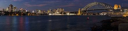 042 Barangaroo 120516-6538-Pano-Edit - The Sydney Harbour Bridge and Milsons & Blues Point. 10 shot image using a 105mm lens