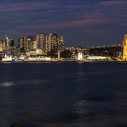 042 Barangaroo 120516-6538-Pano-Edit - The Sydney Harbour Bridge and Milsons & Blues Point. 10 shot image using a 105mm lens