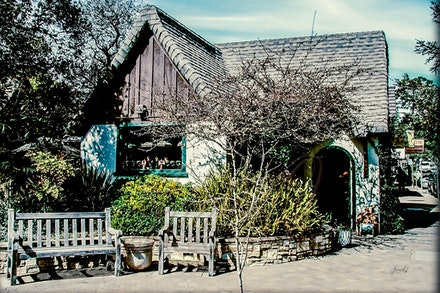 Set a While - Cottage shop in the small seaside town of Carmel, California. This town was filled with old world buildings and of course was quite famous...