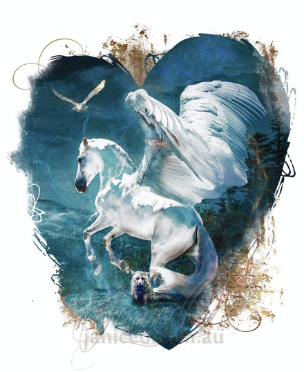 Flights of Fancy, My Winged White Horse - Hearts desire in a winged white stallion to soar above the world, 
