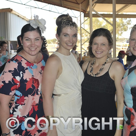 151003_SR22278 - Jodie Watts, Nicole Groves, Steph Batt and Alicia Barbour at the Jundah Cup day races, Saturday October 3, 2015.  sr/Photo by Sam Rutherford
