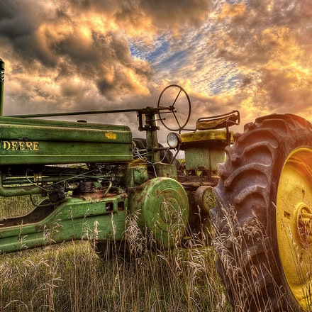 Tin Can    9.7.2016.8 - Tin Can An old John Deere looks right at home in a Rokeby, Nebraska farm field. #nebraska #farm #sunset #farmsunset #lancastercounty...