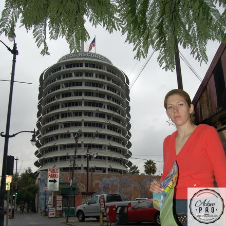 Chastity at Capitol Records wearing star earrings